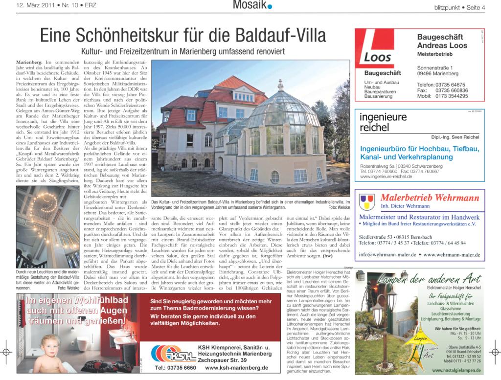 Artikel zur Baldauf-Villa