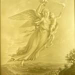 PLP 1377 Engel mit Kind fliegt in die Nacht 16x12cm