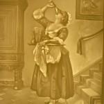PLP 1768 Dienstmädchen trinkt Sekt H=13 B=11cm