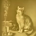 PLP 1807 Katze und die qualmende Zigarre H=13 B=11cm